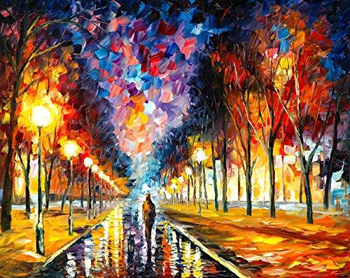 Van Eyck Walking notte paesaggio Colorful Palette Coltello Olio Stampe