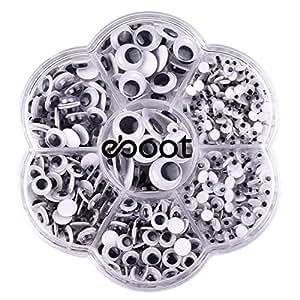 eBoot 700 Pezzi Occhi Finti Occhi Pazzi Occhi Wiggle con Autoadesivo Fai Da Te Scrapbooking Crafts Accessori Giocattoli, Assortiti Taglie