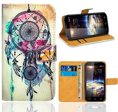 FoneExpert® Vodafone Smart 4 Power Handy Tasche, Wallet Case Flip Cover Hüllen Etui Ledertasche Lederhülle Premium Schutzhülle für Vodafone Smart 4 Power