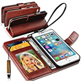 Apple iPhone 7 Plus / iPhone 8 Plus Rich Leather Stand Wallet Flip Case Cover Book Pouch / Quality Slip Pouch / Soft Phone Bag (Specially Manufactured - Premium Quality) Antique Leather Case With Mini Touch Stylus Pen Brown