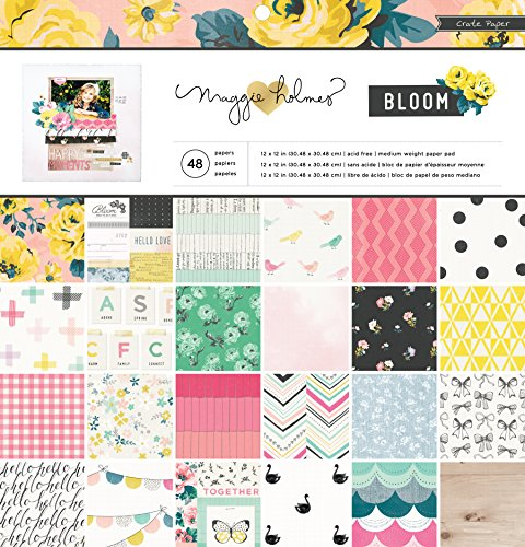 American Crafts Box Papier Papier Pad 12Zoll x 12Zoll 48/pkg-Maggie Holmes Bloom, andere, Mehrfarbig -