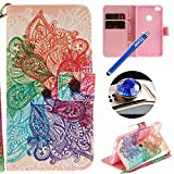 Etsue Huawei P8 Lite 2017 Wallet Case, Huawei P8 Lite 2017 Leather Case with Cute Design Flower Pattern Wallet Flip Case Cover with Stand Book Type Magnetic Closure for Huawei P8 Lite 2017+Blue Stylus Pen+Bling Glitter Diamond Dust Plug(Colors Random)-Colorful Flower