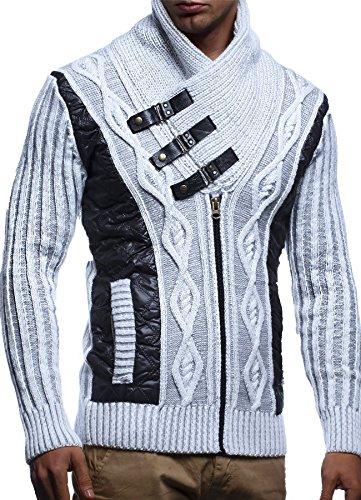 LEIF NELSON Herren Jacke Pullover Strickjacke Hoodie Sweatjacke Freizeitjacke Winterjacke Zipper Sweatshirt LN5305; Grš§e M, Ecru-Grau
