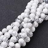 Nbeads 10fili perline rotonde perline howlite pietra preziosa naturale, bianco, dimensioni: circa 8mm di diametro, foro: circa 1mm, 15~ 40,6cm