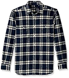 French Connection Mens Yarn Dyed Twill Overcheck Button Down Shirt, Black Iris, L