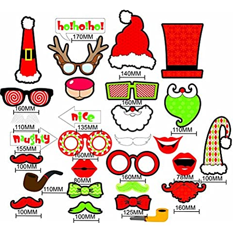 FENICAL Natale foto stand puntelli 19 pezzi DIY Kit Natale Photo booth puntelli Party Supplies