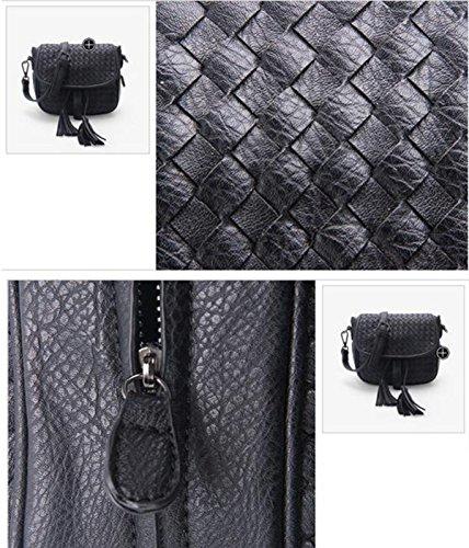 Frauen Mode Damen Oblique Weaving Troddel-Schulter-Beutel-Handtaschen-Taschen-Geldbeutel Black