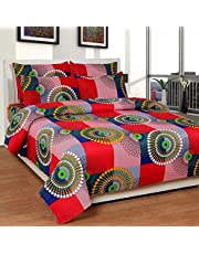Shree Fashion Hub 100% Cotton Geometric Theme Printed Double Bedsheet With 2 Pillow Covers