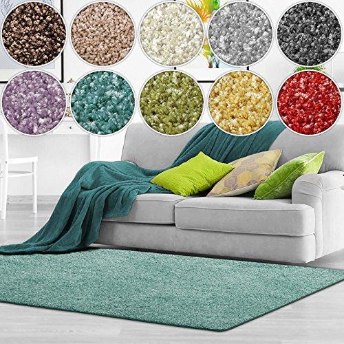Shaggy Teppich Bali   weicher Hochflor Teppich für Wohnzimmer, Schlafzimmer und Kinderzimmer   mit GUT-Siegel   verschiedene Größen   viele moderne Farben (140 x 200 cm, türkis)