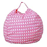 squarex Kids Stuffed Animal Plush Toy Storage Bean Bag Soft Pouch Stripe Fabric Chair (I, Diameter:41cm)