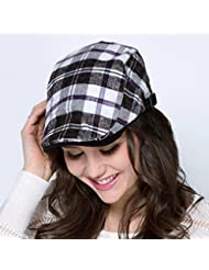 WF:sombrero de las señoras ola coreana Sra primavera y el verano del sombrero masculino del encanto del color de la tela escocesa casquillo de la boina del sombrero del sol del sombrero del sol ( Color : Negro )