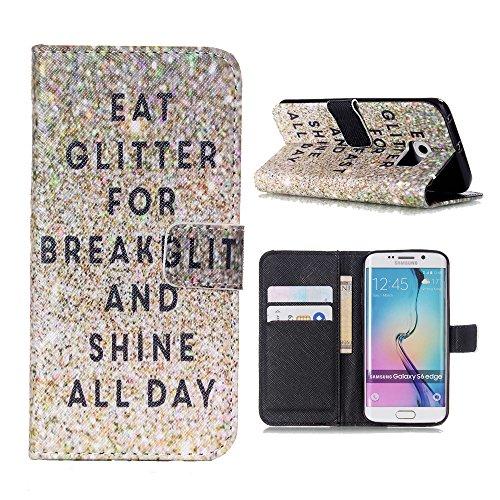 Galaxy S6 Edge per, Linvei Galaxy S6 Edge Cover, custodia Cover Custodia for Galaxy S6 Edge, colorati modello Custodia Cover Retro stampa pelle PU progettata per con funzione sostegno morbido TPU inte C-10