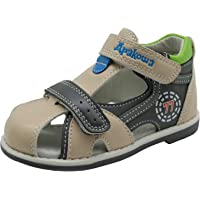 Apakowa Baby Boys Summer Hook and Loop Closed Toe Orthopedic Sandals with Arch Support (Toddler/Little Kid)