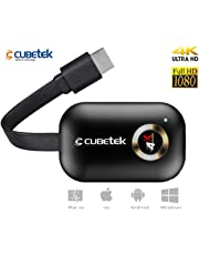 CUBETEK 4k Wireless Display Dongle for Screen Mirroring / Miracast / Airplay / DLNA from Mobiles, Tablets, to TV Wirelessly, 2.4G WiFi, Model: G9Plus