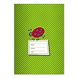 4 süße DIN A5 Schulhefte, Schreibhefte mit Marienkäfer, grün Lineatur 4 (liniertes Heft)