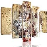 Feeby Cuadro Deco Panel Abstracto 5 Partes Imagen Ballet Paris Notas marrón 100x70 cm