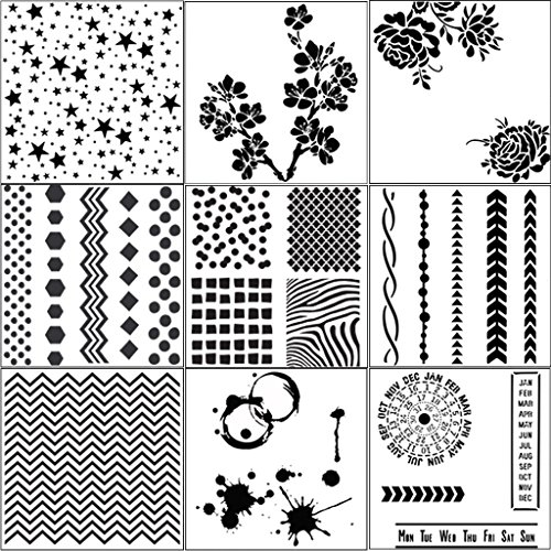 yasheep Set von 9Zeichnung, Schablone–verschiedenen Mustern Kunststoff Planer DIY Zeichnen Vorlage–Malen Schablone für Journaling Scrapbooking Karte und Kunst-Projekte