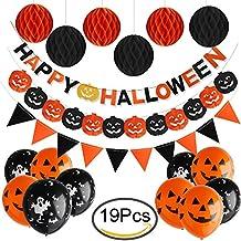 Bandiera Felice di Halloween, Outee Guarnizioni di Bandiera di Pennant con 6 Pack Pallone a Nido D'ape 10 Palloncini di Lattice e Bandiera di Zucca di Carta per la Decorazione del Partito di Halloween