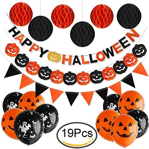 Outee Happy Halloween Banner, Wimpel Flagge Girlanden mit 6 Pack Bienenwabe Bälle 10 Latex Ballons und Papier Kürbis Banner für Halloween Party (Halloween Happy Banner)