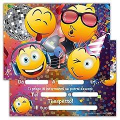 Idea Regalo - Partycards Set di 12 inviti Compleanno Biglietti invito per Festa Compleanno per Bambini e Adulti in Italiano - Emoji Smile Smiley