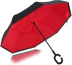 VISMIINTREND Auto Close Folding C-Shape Handle Double Layer Windproof Red Umbrella