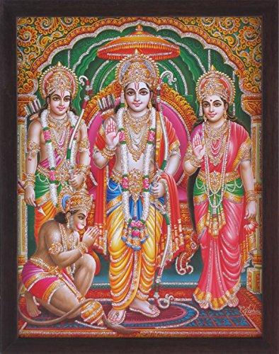 Ram Laxman (RAM, Laxman und Sita Rückseite in ayodhya und Lord Hanuman Paying Ihn Dankbarkeit und RAM Giving Blessings, Ein Hindu Religiöse Gemälde Poster Plakat mit Rahmen für Gott und Geschenk Zweck.)