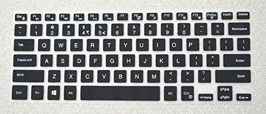 Saco Keyboard Protector Silicone Skin Cover for Dell Inspiron 15 7570 Laptop -Black with Clear