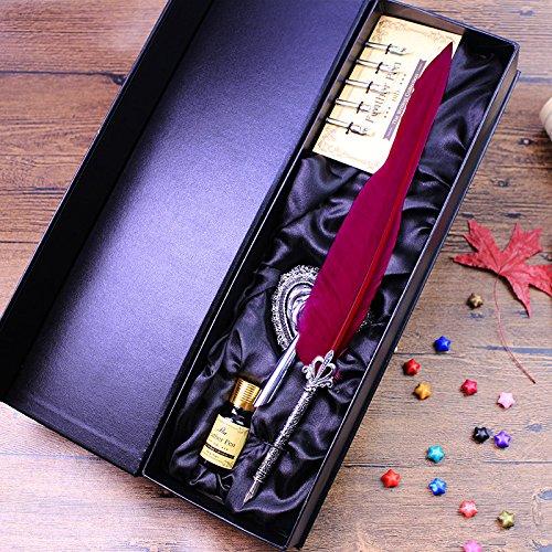 ECVISION Antike Feder Federkiel Schreiben Stift Metall-Nibbed Pen Kalligraphie-Schreibfeder Stifte Set (Weinrot)