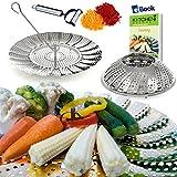 "Premium Vegetable Steamer Basket - 5.5-9.3"" - Best Bundle - Kitchen Deluxe - 100% Stainless Steel - Bonus 2 in 1 Julienne Veggie Peeler, Hook Insert & Food eBook – Instant Pot Pressure Cooker Safe"