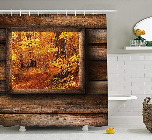 Fall Decorations Shower Curtain, Fall Foliage View from Square Shaped Wooden Window Inside Cottage Photo, Fabric Bathroom Decor Set with Hooks, 72x72 inches Extra Long, Orange Brown