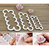 JoyGlobal Plastic The Easiest Rose Ever Cutter For Cake Decorating Cake Decorating Set, 3-Pieces, White