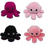 LOOLOLA 2 X Pieuvre Peluche réversible, Poulpe, Octopus Humeur Double Face, Flip Jouet Mignonne, Cadeau Enfants, Adultes pour