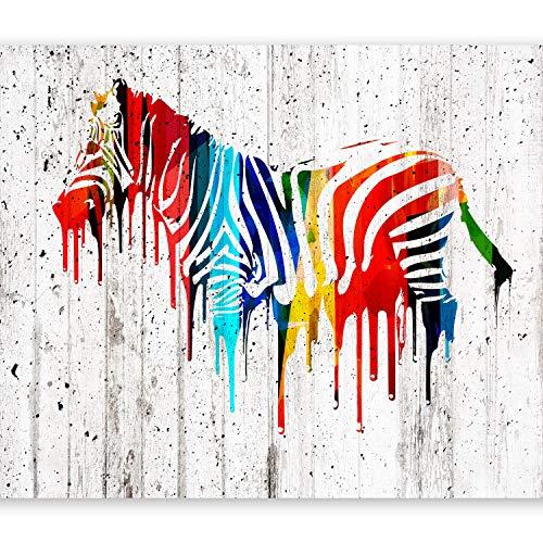 murando – Papier peint intissé – 350x256 cm – Trompe l oeil - Tableaux muraux – Déco – XXL–Bois zèbre coloré Afrique animale f-B-0035-a-a