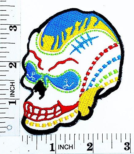 Weiß Blue Eye Sugar Skull Motorrad Patch Hand -