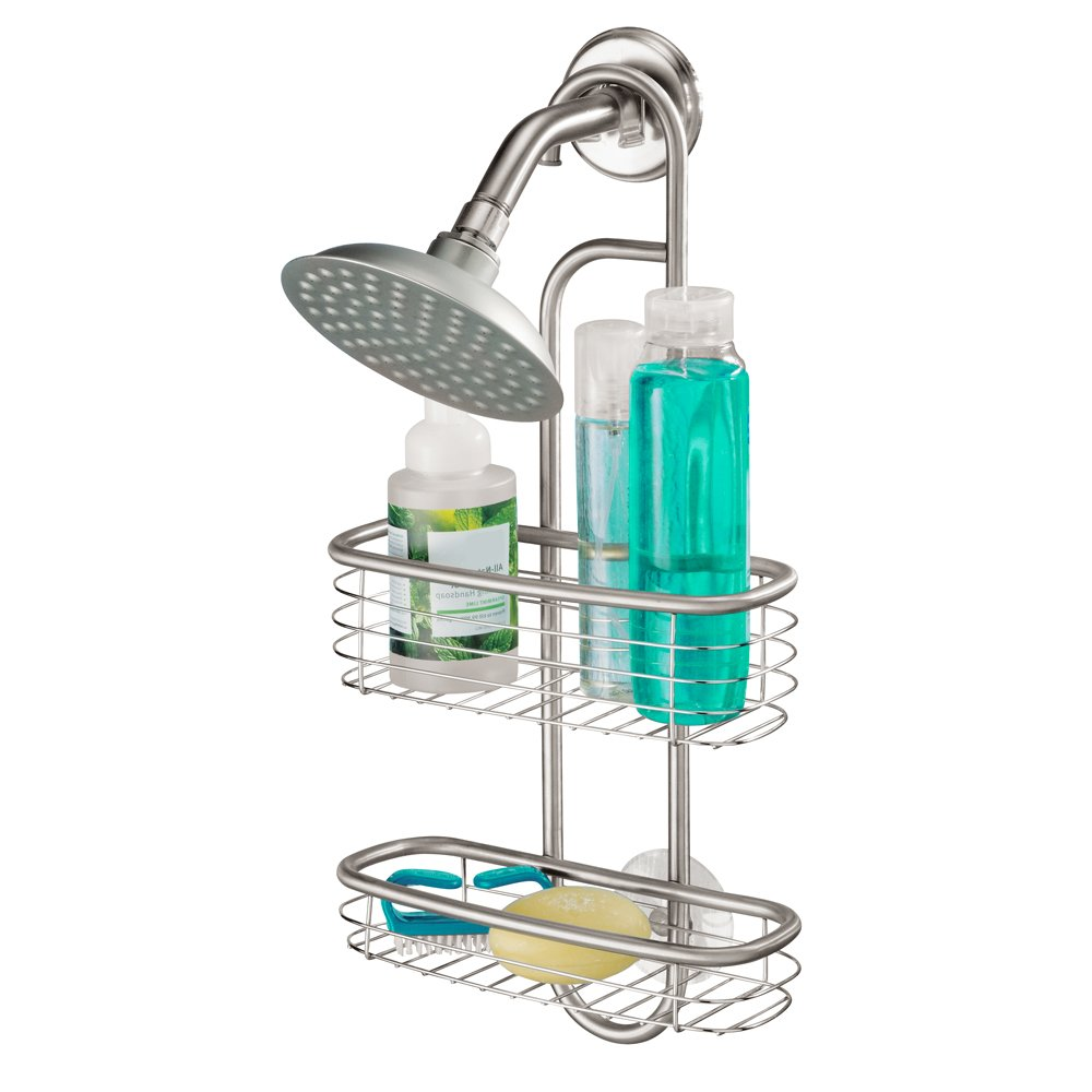 Stainless Steel Suction Shower Caddy Storage Basket Shelves Hanging ...