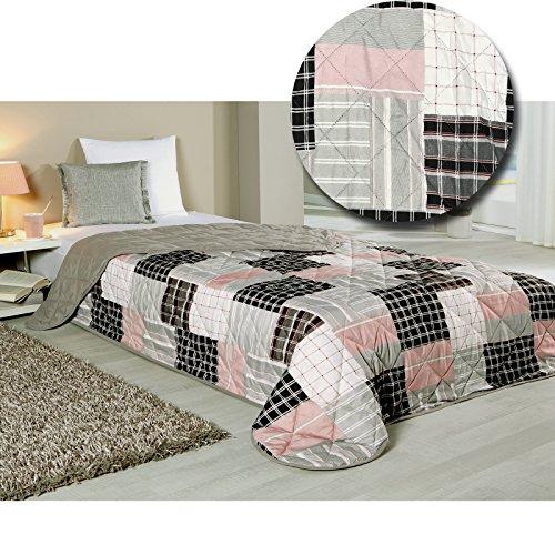 Tagesdecke Bettdecke Bett & Sofaüberwurf gesteppt von JEMIDI 220 x 240 Tagesdecke Überwurf Bett Husse Decke XXL (Patchwork Grau Rosa)