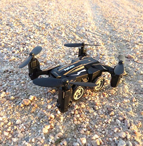 WZG Drone Con Cámara FPV Air-Ground RC Quadcopter Por Tierra & Aire Doble Modo Drone Coche Teledirigido De Control Remoto 2,4 GHz 6-Axis Gyro Juguetes para niños, black