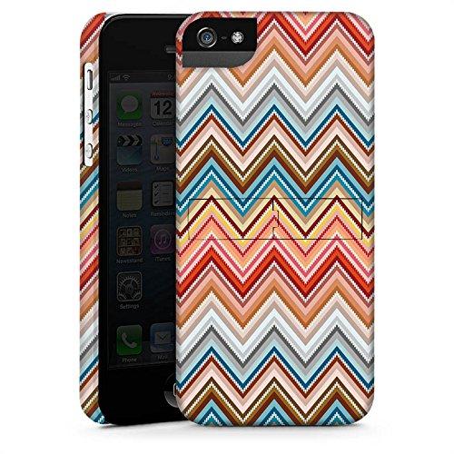 Apple iPhone 5s Housse Étui Protection Coque Zigzag Rétro Motif CasStandup blanc