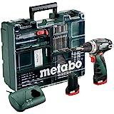 Metabo Mobile Workstatt batteriskruvsats (2 x 2,0 Ah 10,8 V verktygsbatteri inklusive laddare, borrskruv + tillbehör) 6000808