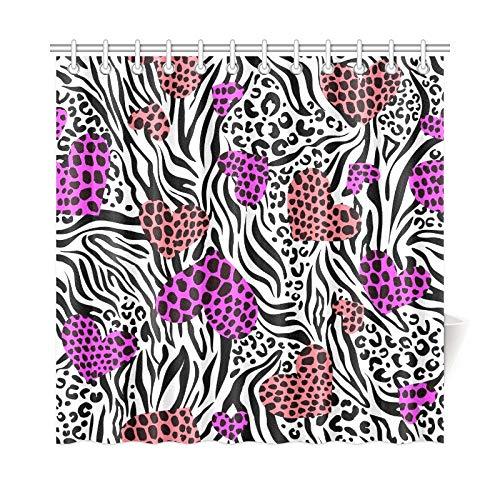 JOCHUAN Home Decor Bad Vorhang Farbe Herzen über Zebra Leo Print Polyester Stoff Wasserdicht Duschvorhang Für Badezimmer, 72 X 72 Zoll Duschvorhänge Haken Enthalten