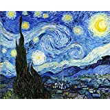 Wowdecor Paint by Numbers Kits for Adults Kids, DIY Number Painting - Starry Night by Van Gogh Beautiful Sky 40 x 50 cm - New Stamped Canvas