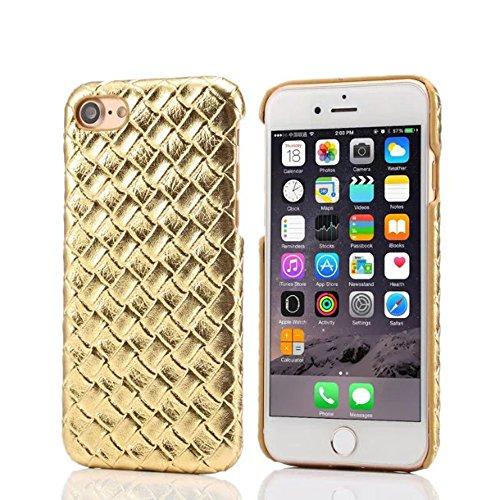 """iPhone 7 Coque Dur Case Fine Mince Style Poids léger, Etui Apple iPhone 7 4.7"""", Élégant Imité Tissage Texture Anti Choc Housse de Protection pour iPhone 7 - Rose Or"""