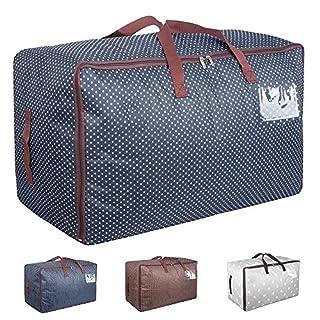 Aufbewahrungstasche für Bettdecken Tasche Verstauen Kissen Tragetasche für Bettzeug oder Matratzenauflagen Reißverschluss-Box Oxford 70x42x35cm(Blau)