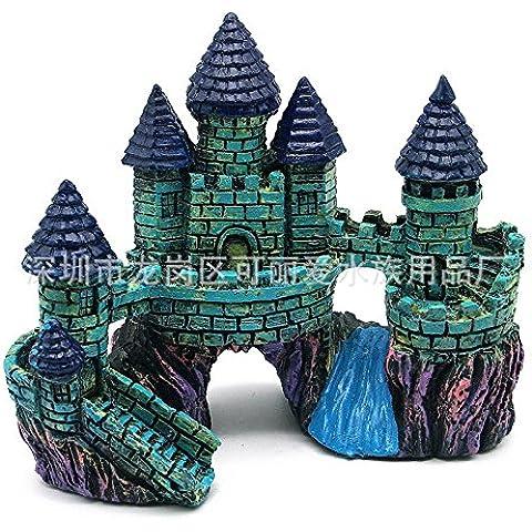 ZPP-Acuario El acuario tropical Fish Tank decoración resina resina decorativos artesanías paisajismo Castillo