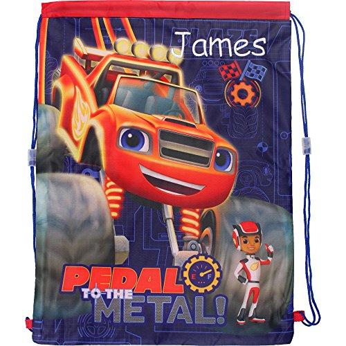 Personalisierte Blaze und die Monster Maschinen Pedal zum Metall! Drawstring Schule Sport Sporttasche (Monster Truck Schwimmen)
