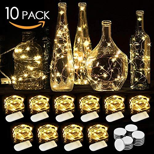 WEARXI LED Lichterkette Batterie - 10 Stück 2M 20LEDs Mini Lichterkette mit Batterie, Lichterkette Draht, LED Beleuchtung Batteriebetrieben Deko für Flasche, Urlaub, Hochzeit, Party Deko, Weihnachten