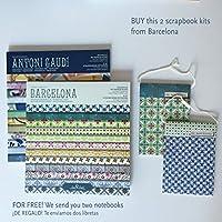 2 Pads scrapbook, Kit Barcelona+Gaudí 8''-203mm // REGALO 2 libretas surtidas baldosas Hidráulicas