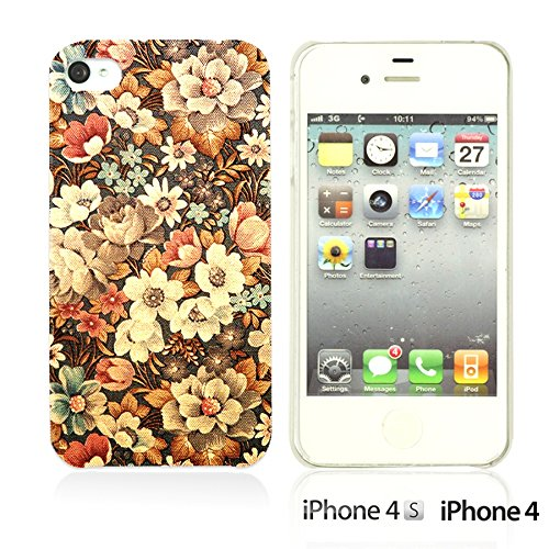OBiDi - Flower Pattern Hardback Case / Housse pour Apple iPhone 4S / Apple iPhone 4 - Colorful Flowers With Birds Retro Flower