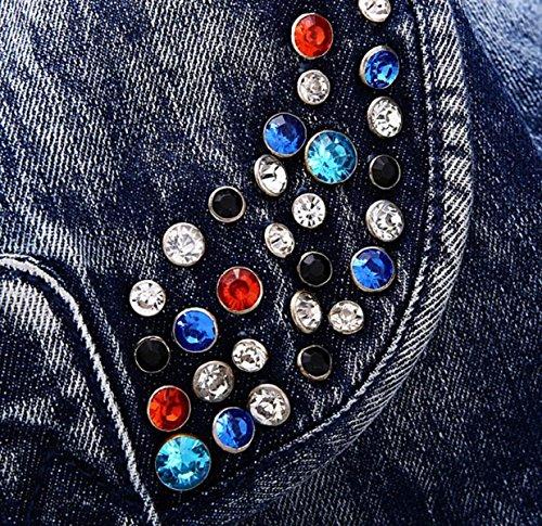 Zaino Delle Signore Corea Casual Personality Fashion Borsa Cowboy Borse Scolastiche Sacchetti Spalla Cowboy Rivetti Selvatici Blue
