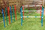 6 dog agility weave poles which convert into 3 dog agility training jumps.(due t